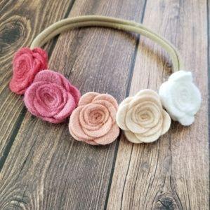 Girls Floral Felt Halo Headband, Ombre Pink